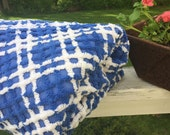 Plush & Plump - Vintage Cotton Chenille Bedspread - Royal Blue and Snowy White!