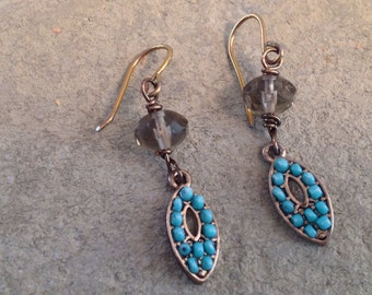 Turquoise and smokey crystal earrings dangles, Hypo Allergenic, Sterling, Clip On