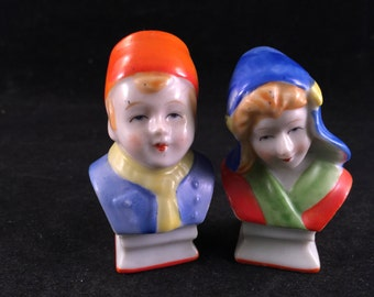 Set of Vintage Dutch Boy and Girl Bust Salt and Pepper Shakers