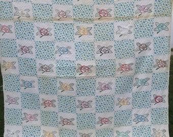 Vintage Well Loved Painted Floral Embroidery Cutter Quilt Rural Americana