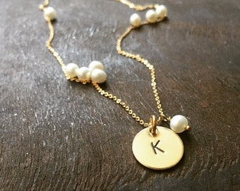 Mothers Day Gift Idea - One Dainty & Simple Smooth (Or Hammered) Gold Disc - Personalized It --- Simag