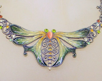 Vintage Enamel Dragonfly Necklace - Art Nouveau Style - Bronze - Choker - BIG Dragonfly - Great Condition
