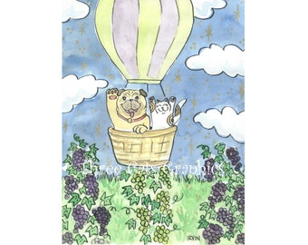 A Lucky Flight Over the Vineyard - Choose from ACEO Print, Note Cards, or Art Print