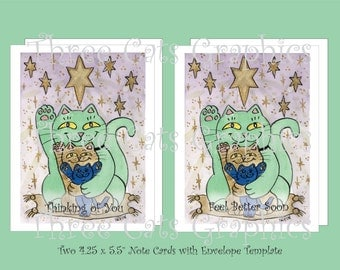 The Healthy, Wealthy, & Wise Lucky Star - Thinking of You/Feel Better Soon - 2 Note Cards with Envelope Template - Instant Download