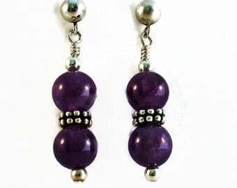 Amethyst Earrings, Purple Earrings, Purple Gemstone Earrings, Amethyst Sterling Earrings, Amethyst Silver Earrings, Purple Silver Earrings,