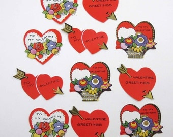 Vintage 1930s or 1940s Assorted Valentine's Gummed Seals Stickers or Labels Set of 11 Lot A
