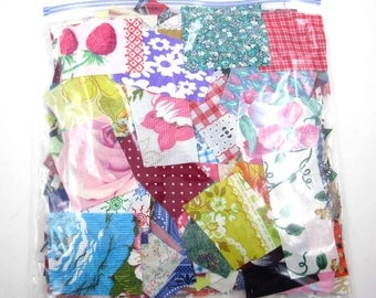 Huge Bag of Assorted Fabric Scraps Pieces or Material Lot K