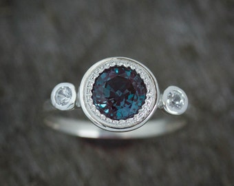Multistone Alexandrite Ring, June's Birthstone Ring, Gemstone Halo Ring, White Sapphire and Alexandrite Jewelry, June Gemstone Anniversary