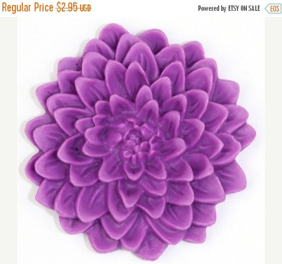 Shop Closing Sale Large Chrysanthemum Flower Cabochon 32mm Purple (2) PC147