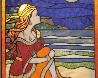 Gypsy night at the beach-  Stained glass panel