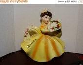 Valentines Day Sale 1960's November Lefton Birthday Figure, Hellow Dress, Flower Basket, Flower Hat, Brown Hair, Porcelain Figure