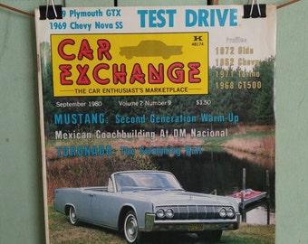 Car Exchange Magazine Sept 1980 Antique Cars Mid Century 1964 Lincoln 1952 Chevy Bel Air 1966 Ferrari Firebird Mustang Torino Toronado
