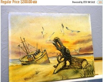 Valentines Day Sale 1988 Signed Oil Painting by Madonna, Sailboat, Sea, Ship, Seagulls, Driftwood, Sand Dune, Shipwreck