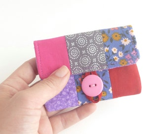 credit card case. pink periwinkle fabric women card holder. red grey patchwork business card holder. small gift