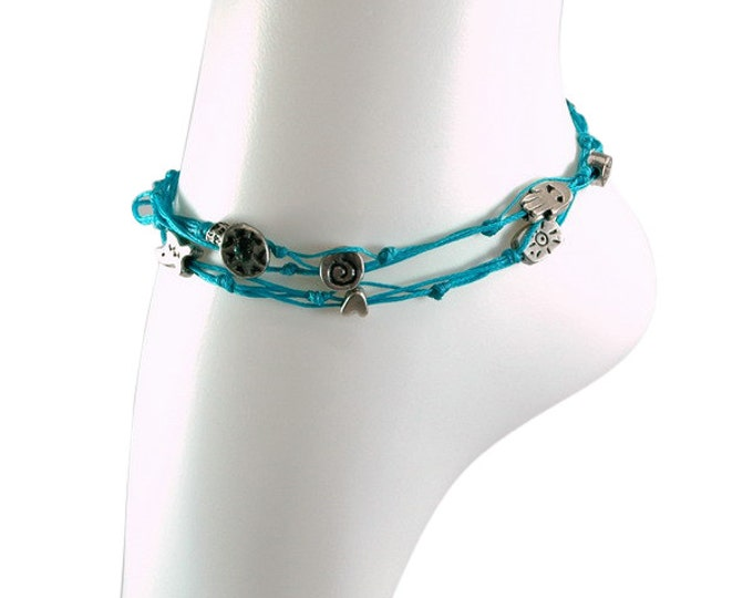 Turquoise Double Wrap Ties and Silver Charms Anklet for Good Luck and Protection