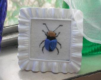Embroidered Beetle Bug - Stumpwork Embroidery- Miniature