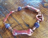Copper DOG BONE Bracelet - Purple Sugilite - Dog Lover Jewelry - Dog Rescue Jewelry - Animal Lover - Cowgirl Jewelry - Rustic Jewelry