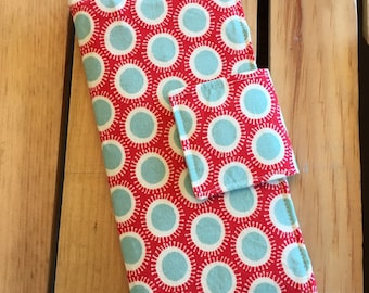 Womens Carry All Snap Wallet in Red and Aqua Polka Dots