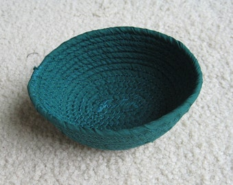 Oval Forest Green Mini Fabric Coil Clothesline Bowl