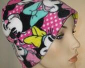 FREE SHIP USA Minnie and Mickey  Anti Pill Fleece Hat, Winter Hat, Cancer, Chemo Hat, Alopecia