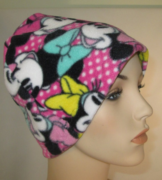 Kids Child Minnie and Mickey  Anti Pill Fleece Hat, Winter Hat, Cancer, Chemo Hat, Alopecia