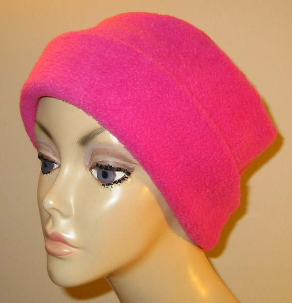 FREE SHIP USA Raspberry Anti Pill Fleece Pillbox Hat, Winter Hat, Cancer, Chemo Hat, Warm Hat