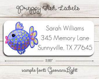 Preppy Fish Return Address Labels