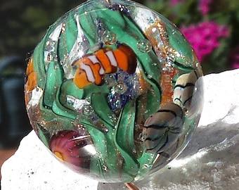 Lagoon - Lampwork Beads - Aquarium Bead