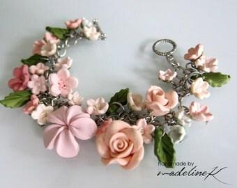 Flower Charm Bracelet, Handmade Polymer Clay Flower Bracelet, Gift For Her, Shabby Chic Jewelry, Bridal Bracelet, Flower Girl Bracelet