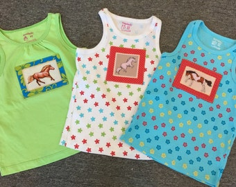 Trio of horse pony little toddler tank tops size 4T and 5T