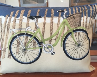 """Beach bicycle pillow 12""""X 16"""" with tan ticking stripe on back"""