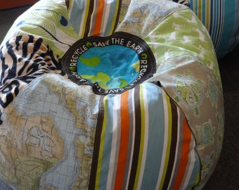 NEW Save the Earth Recycle multi print bean bag with tiger stripes, turtles, deer, peacock feather and world map fabrics