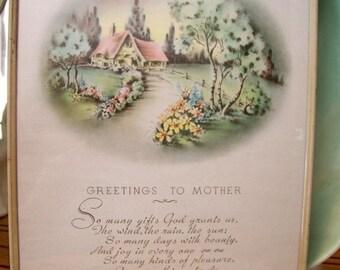 MCM Vintage Mother Poem and Art Nouveau Look Illustration Framed Print Pastels Gift