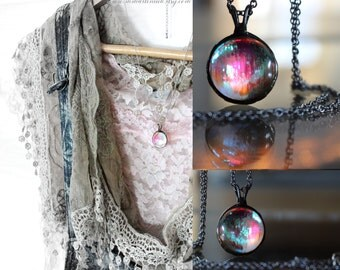 Moon Glow Jewel Glass Pendant Romantic Boho Soft Pink and Blue Flash Festival Jewelry Gypsy Spirit Fairy Necklace Surgical Stainless Steel