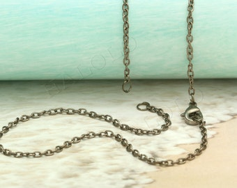 4 pcs handmade gunmetal finish cable chain necklace with 2 jump rings CH104