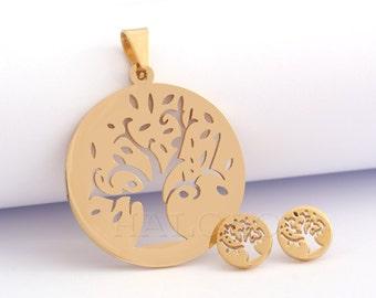 Tree Pendant and Stud earring Set Stainless Steel EX067