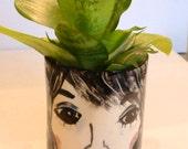 face planter ceramic face vase figurative planter black and white ceramic art vase drinking glass