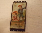 Vintage GERMANY PinKeep Lady with Umbrella in Boat Scenic