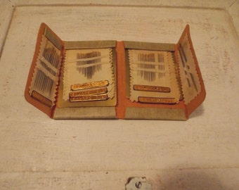 Vintage JOHN ENGLISH Needlebook, lots of needles, Leather needlekeep, Vintage Sewing