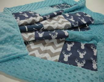 Navy Deer Head and Arrows with Aqua and Gray 3 Piece Baby Crib Bedding Set MADE TO ORDER