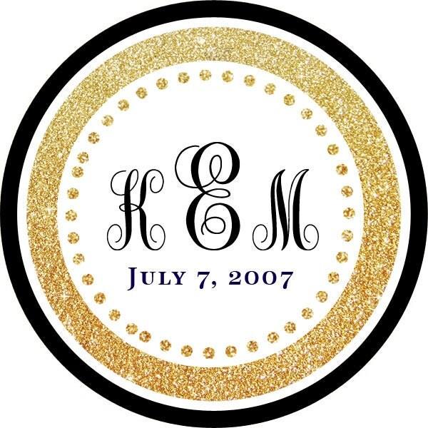 black gold monogram wedding thank you personalized stickers
