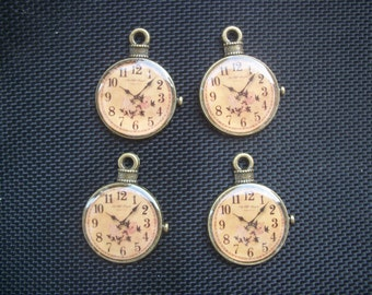4 Pocket Watch Pendant Charms Antiqued Bronze Tone