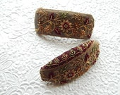 Taupe hair barrette,embroidered barrette, beaded barrette, sequinned barrette,fabric barrette, hair accessory, fashion accessory