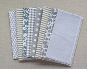 Color Block Bundle in Gray- 10 Cloth Napkins-  FREE SHIPPING
