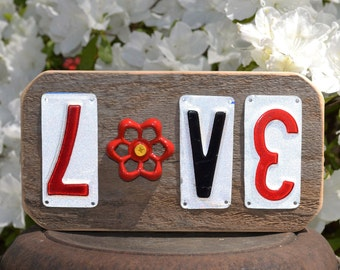 License Plate Art - Love - Faucet Handle - Recycled Art - Recycled License Plates