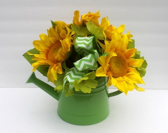 Sunflower watering can silk flower arrangement, Silk centerpiece, summer table decoration, Mother's day flowers, summer flowers