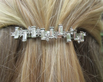 Rhinestone Barrette Small minimal hair clip Simple baguette elegant Accessory Crystal Hair Jewels Wedding bridal dainty sparkle Gift for her