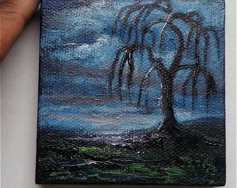 "Mini Oil Painting Tree Silhouette Weeping Willow 3""x 3"" READY to SHIP"