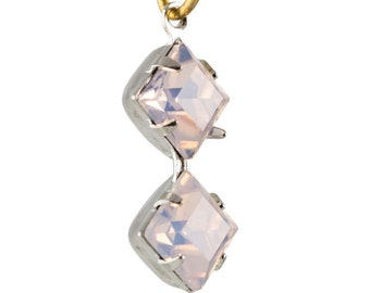 Pink Opal Faceted Square Glass Stones Double 1 Loop Silver Plated Setting 6mm (4) squ013QQ3