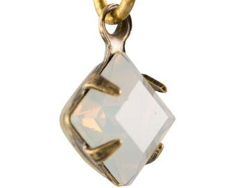 White Opal Faceted Square Glass Stones 1 Loop Brass Ox Setting 6mm (8) squ014RR